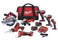 Milwaukee M18 18 volt lithium ion tool set, 7 tool combo, New, Cordless, Impact