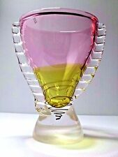 Poland Glass X Large Polish Trophy Vase Art Hand Blown Spiral Pink Yellow Unique