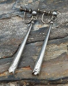 Old Pawn Sterling Silver Squash Blossom Dangle Screwback Earrings Native Navajo