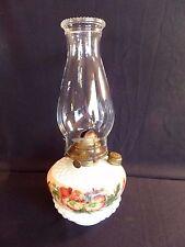 Gorgeous Antique Hand Painted Milk Glass Diamond Motif Oil Kerosene Lamp