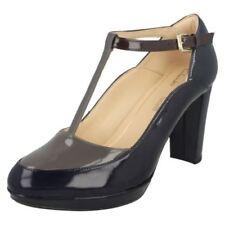 Clarks Block Heel Composition Leather Heels for Women