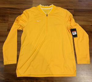 NEW Nike Men's 1/2 Zip Dri-FIT Pullover 1/4 Zip 908359-717 Yellow Gold Large L