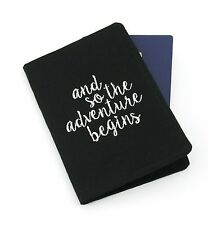 Black Embroidered Travel Quote Passport Cover Holder, Passport Wallet, Gift