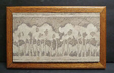 Framed Contemporary Ceramic Tile with Trees Arts and Crafts