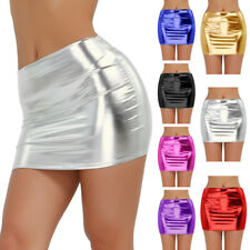 Sexy Women Shiny Wetlook Mini Skirt Clubwear Patent Leather Bodycon Short Dress