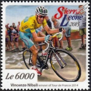 VINCENZO NIBALI 2014 Tour de France Bicycle/Cycling Stamp (2015 Sierra Leone)