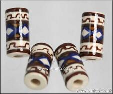 Peruvian ceramic TUBE Beads  Hand Painted  V01019  X 10   Hair and Craft Use
