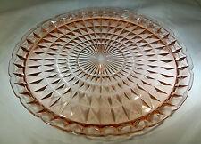 """JEANNETTE GLASS CO. WINDSOR DIAMOND PINK 13-5/8"""" DIAMETER SANDWICH or CHOP PLATE"""