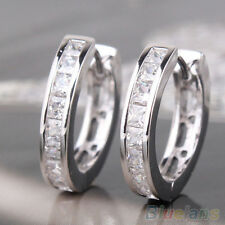 FT- Mens Simple Style Silver Plated Small Round Square Crystal Hoop Huggie Earri