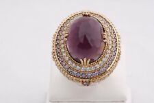 Turkish Handmade Jewelry Big Oval Amethyst Topaz 925 Sterling Silver Ring Size 9