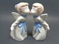 PORCELAIN KISSING ANGEL FIGURINES CREAM  WITH PALE BLUE ACCENTS BOY & GIRL