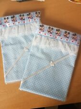 Handmade Blue Spotted Baby Crib Sheet- Mickey Mouse Satin & White Lace Edge.