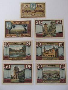 1921 Stadtilm 5/10/50 Pfennig Notes Lot of 7