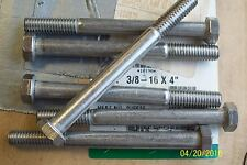 *LOT OF 6* NEW STAINLESS STEEL HEX HEAD BOLT 3/8-16 X 4