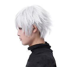 Tokyo Ghoul Kaneki Ken Short Silver White Cosplay Wigs Straight Hair Costume Hot
