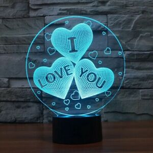 Valentines day gift I LOVE YOU Colorful 3D Hologram Heart balloon USB Lamp
