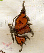 Solid Brass Amber Butterfly Brooch IronWork