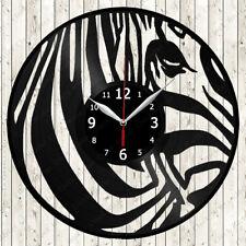 Zebra Vinyl Record Wall Clock Decor Handmade 354