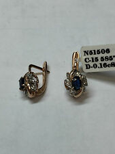 """RUSSIAN STYLE 585"""" (14 k) ROSE GOLD DIAMOND EARRINGS WITH SAPPHIRES"""