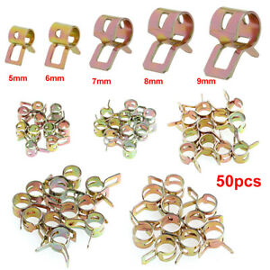 50* Spring Clip 5/6/7/8/9mm Fuel Water Line Hose Pipe Air Tube Clamp Fastener
