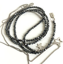 2x Ketten, Y-Kette, grau anthrazit Glasperlen & zierliche silber Metallperlchen