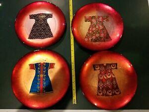 "AKCAM TURKISH GLASS (6) GLITTER RED Dress Rare Plates 8"""