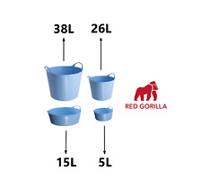 SKY BLUE Gorilla Tub Trug Flexible Storage Carrying Bucket Feeding Water Garden