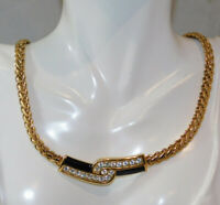 Swarovski Swan Black Enamel Crystal Wide Gold Chain Necklace Gift Box