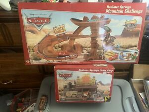 Cars Radiator Springs Mountain Challenge And Curio Shop Sets. RARE You Get Both