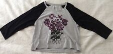 Style and co sport women's large shirt embellished grey 3/4 sleeve purple flower