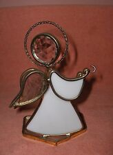 Art Glass Crystal Stained Glass Angel White Signed Terry '92 16/74