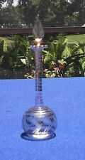 Hand Blown & Etched Made in Egypt Perfume Bottle With Stopper & Gold Trim