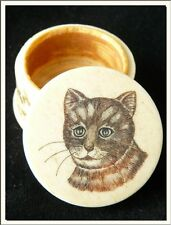 """VERY ANTIQUE TRINKET PILL BOX FROM 1900's """" CAT & FLOWERS """" ! SEE MORE !"""