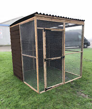 Covered Walk In Animal Run 6ft Half Boared 19G Chicken Rabbit Bird Pet Enclosure