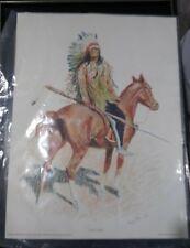 "Frederic Remington Portrait of Old West ""A Sioux Chief"" Art Print Vintage 1956"