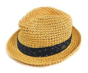 True Religion Paper Weaved Fedora Hat Small Medium Vacation Travel 312-050102