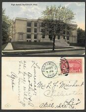 1913 Ohio Postcard - Portsmouth - High School - Parcel Post Stamp