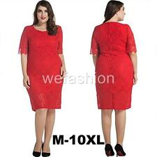 Women Lace Oversize Short Sleeves Cocktail Party Evening Gown Dress Plus Size