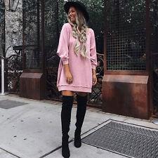 Women Long Sleeve Sweatshirt Mini Dress Casual Sweater Pullover Jumper Long Top