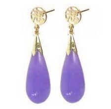 New Fashion Purple Jade Drop 18KGP Fortune Stud Dangle Earrings
