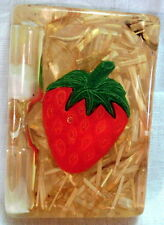 Vintage EGG TIMER Straw & Strawberry ACRYLIC DECORATIVE TIMER