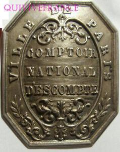 PLAQUE COMPTOIR NATIONAL D'ESCOMPTE - VILLE DE PARIS en argent 1848-1853