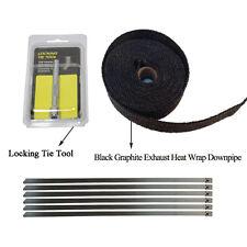 Black Graphite Exhaust Heat Wrap Headers 1.5in x 5m Stainless Ties Kit Tie tool