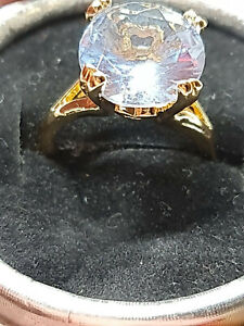 gorgeous 18ct yellow gold filled antique style Tanzanit  gemstone ring size 8 us
