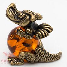 Russian Solid Brass Amber Figurine of Joy Belly Dragon Totem talisman IronWork