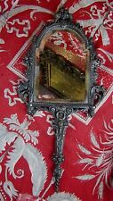 ancienne glace miroir face a main napoleon 3 bronze argenté signé pelletier XIXe