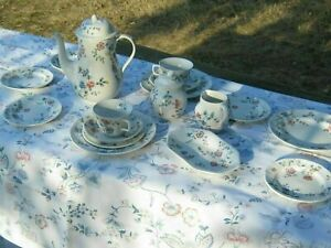 """LAURA ASHLEY Vintage '89 """"Chinese Silk"""" Coffee Service Tableware Set +Tablecloth"""