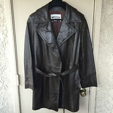 True Vintage 70's Brown Leather Coat Jacket Sheep Mates Made in  New York Retro