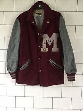 RARE 80'S OLD USA VINTAGE RETRO GENUINE LEATHER LETTERMAN VARSITY JACKET COAT