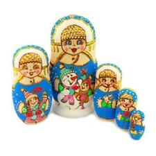 Russian Matryoshka Doll - Winter Scene - Snowman Kids - 5 Nesting Doll - NEW - 7